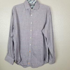Thomas Dean Gray Print Button Front Casual Shirt L